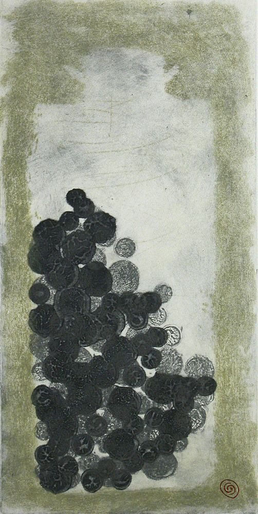 Lost Jar 5, carborundum collagraph, drypoint - 24in x 12in