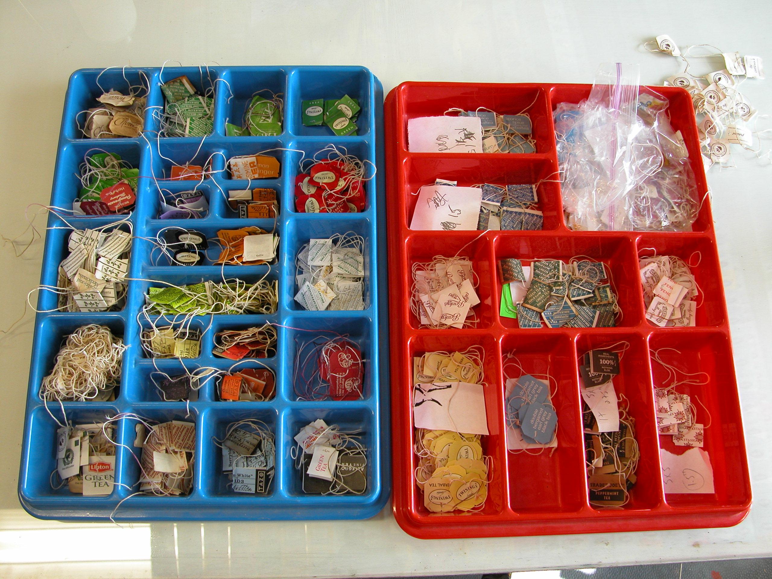 iin the studio, sorting the tea-labels