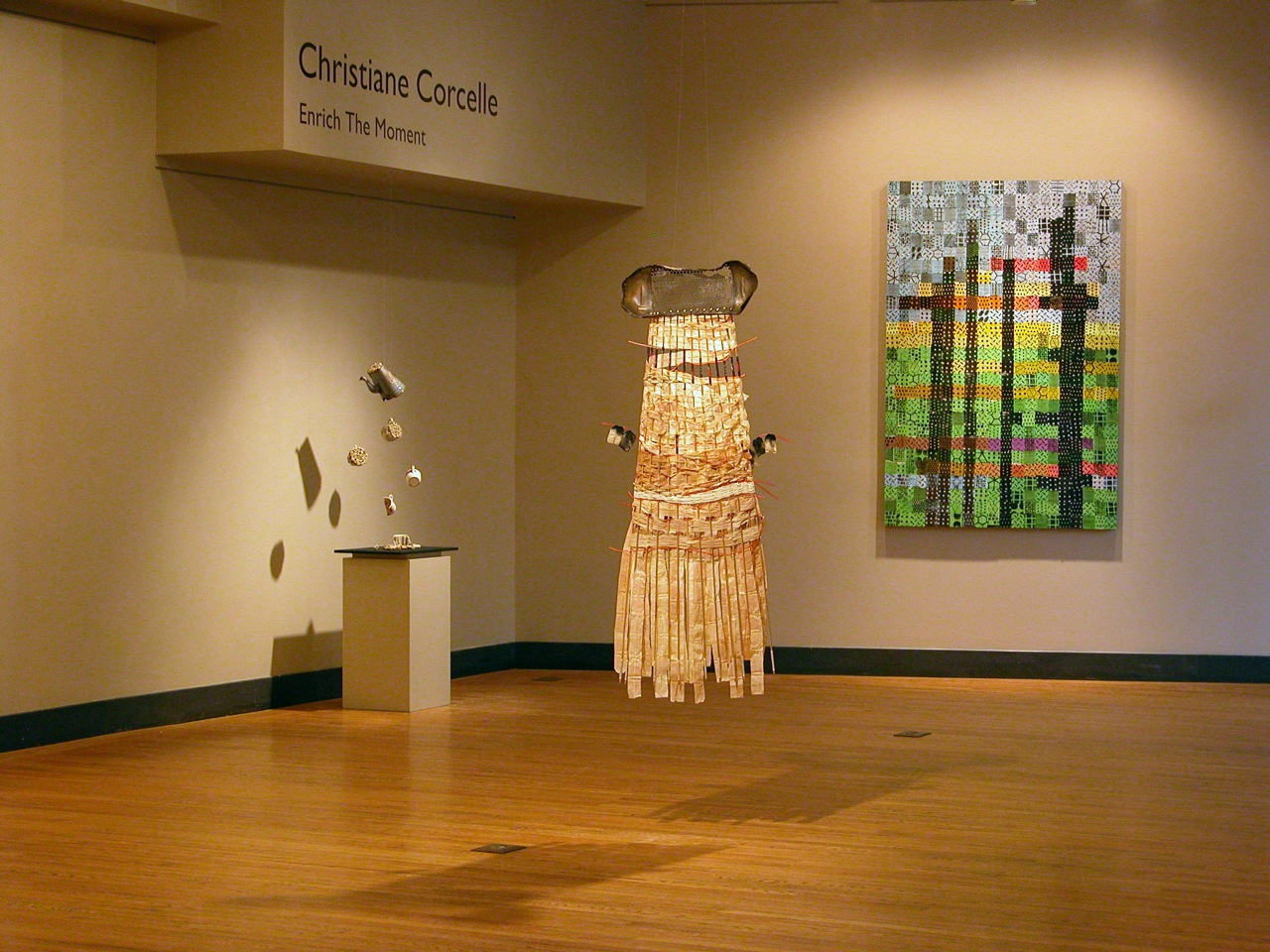Different pieces of the project on display at the Carney Galery, Regis College, Weston, MA